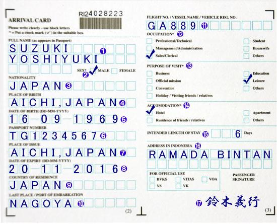 インドネシアの出入国カードの記...